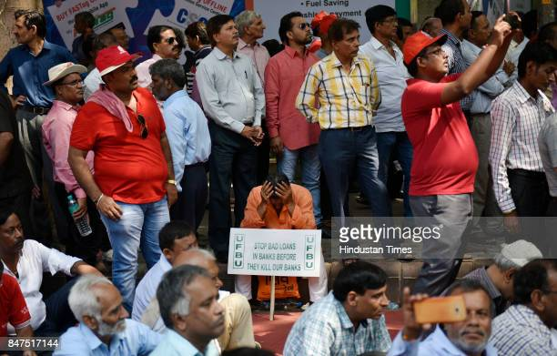 Bank employees during a protest rally against antipeople banking reform at Jantar Mantar on September 15 2017 in New Delhi India