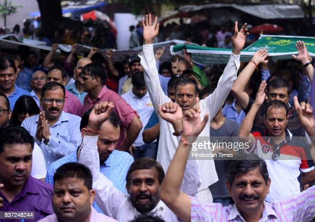 Bank employees stage a protest at jantar mantar in New Delhi as part of oneday All India Bank Strike on August 22 2017 in New Delhi India Normal...