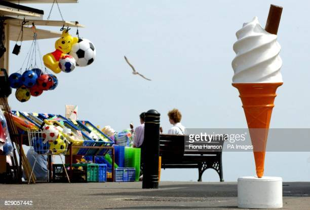Bank Holiday in Worthing where the hot weather could have even melted the giant ice cream cone