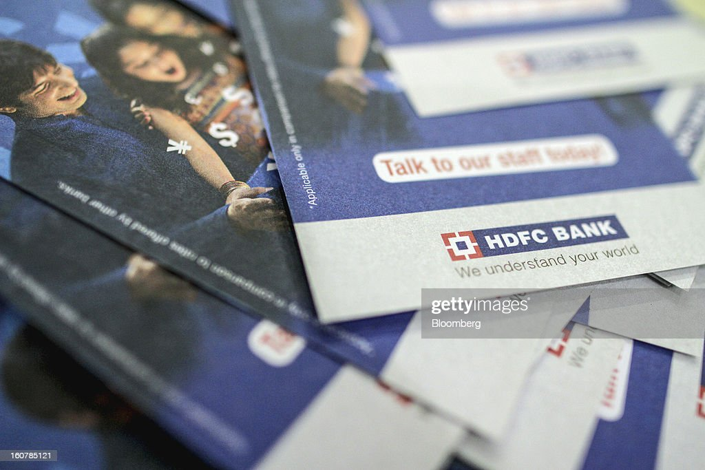 Bank Ltd. brochures are arranged for a photograph at the company's bank branch in Mumbai, India, on Friday, Feb. 1, 2013. HDFC Bank, India's second-largest lender by market value, is seeking to expand in the rural market of the world's second-most populated nation to bolster profits as competition in its cities intensifies. Photographer: Dhiraj Singh/Bloomberg via Getty Images
