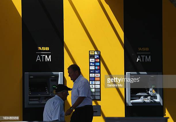 ASB bank money machines are seen after a press conference announcing the class suit to reclaim bank fees on March 11 2013 in Auckland New Zealand...