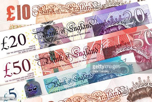 UK bank notes close up