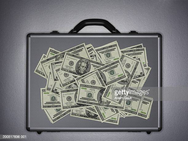 US bank notes on briefcase, close-up