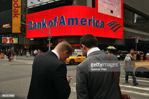 Bank of America billboard dominates a street corner in Times Square on April 21 2009 in New York City Bank of America announced yesterday that it...