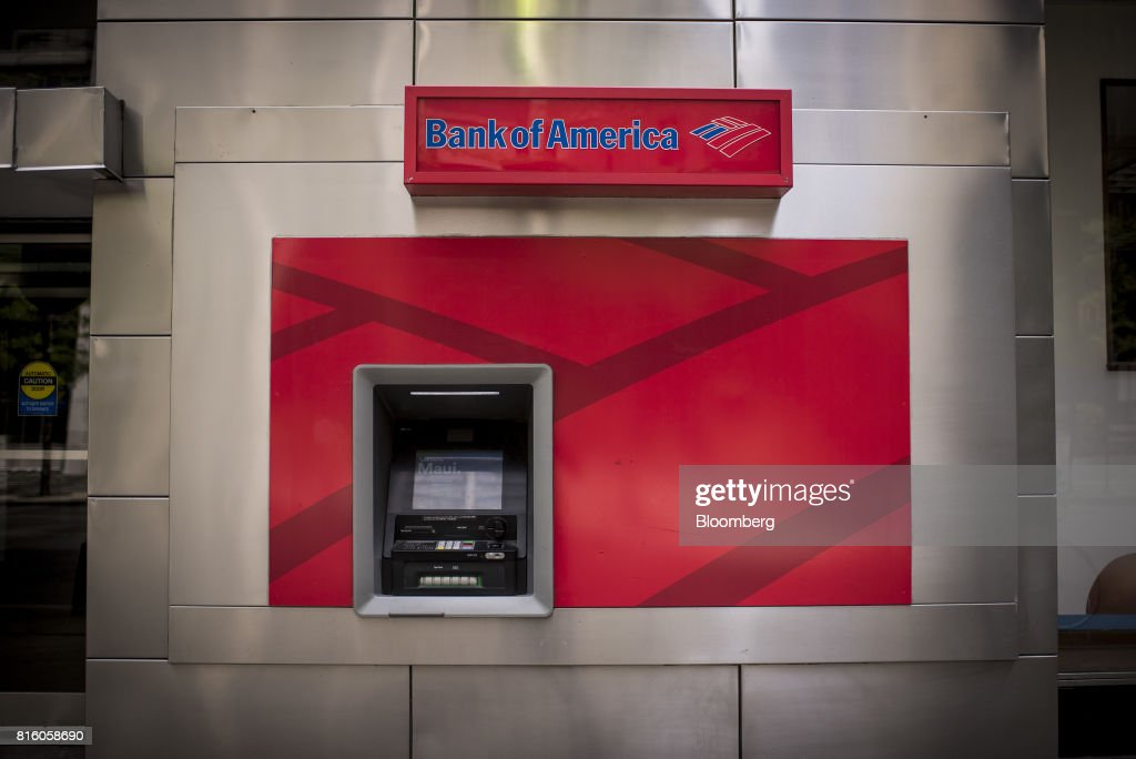 A Bank of America Corp. automatic teller machine (ATM) stands outside a branch in Chicago, Illinois, U.S., on Sunday, July 9, 2017. Bank Of America Corp. is scheduled to release earnings figures on July 18. Photographer: Christopher Dilts/Bloomberg via Getty Images