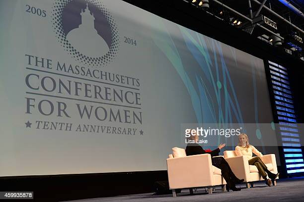Bank of America Global Chief Strategy Marketing Officer Anne Finucane and designer Tory Burch speak on stage at the 2014 Massachusetts Conference for...
