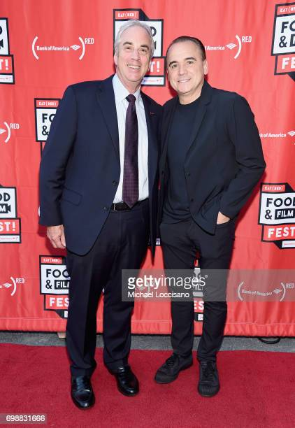 Bank of America New York Chef State PresidentJeff Barker and Chef Jean Georges Vongerichten arrive at EAT Food Film Fest at Bryant Park on June 20...