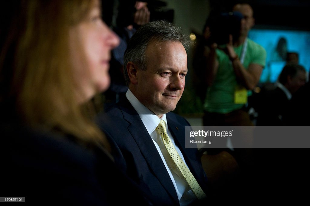 Bank of Canada Governor <a gi-track='captionPersonalityLinkClicked' href=/galleries/search?phrase=Stephen+Poloz&family=editorial&specificpeople=10846368 ng-click='$event.stopPropagation()'>Stephen Poloz</a> waits to deliver his first speech at the Oakville Chamber of Commerce luncheon in Burlington, Ontario, Canada, on Wednesday, June 19, 2013. Poloz said the nation will need a rebound in business confidence to drive growth in coming years, a process that will require 'stability and patience.' Photographer: Galit Rodan/Bloomberg via Getty Images