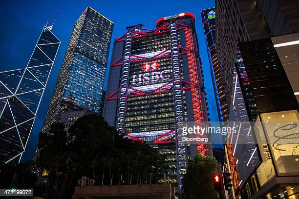 Bank of China Tower from left Cheung Kong Center Bank of China Building HSBC Holdings Plc headquarters Standard Chartered Bank building and Prince's...