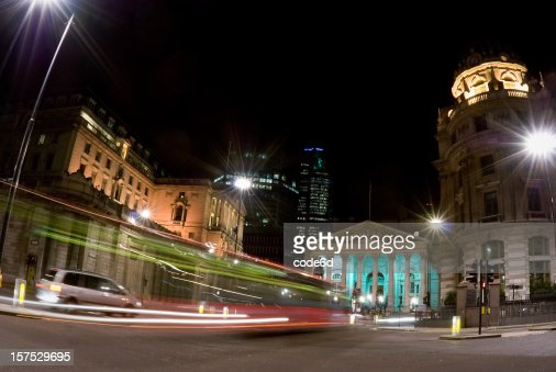 Bank of England and Royal Exchange, London, night motion blur