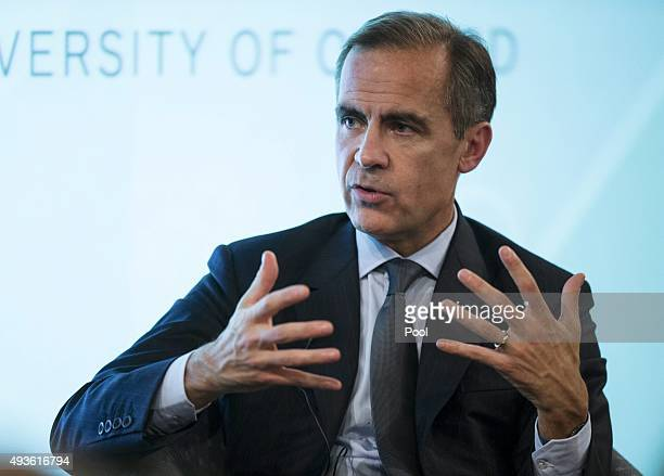 Bank of England Governor Mark Carney makes a speech at The Sheldonian Theatre in the University of Oxford on October 21 2015 in Oxford United Kingdom...