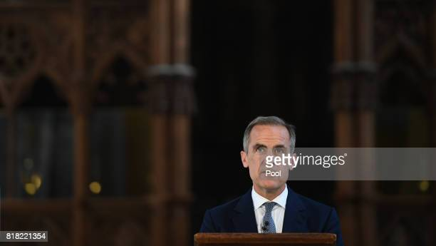 Bank of England Governor Mark Carney speaks at an event to unveil central bank's new ten pound note featuring British author Jane Austen at...