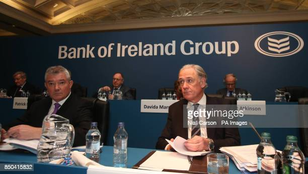 LR Bank of Ireland chief executive Richie Boucher and Chairman Archie Kane during the bank's AGM at the Burlington Hotel in Dublin today