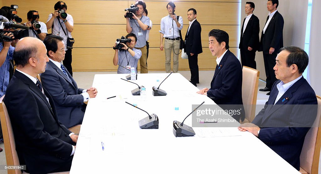 Bank of Japan Deputy Governor Hiroshi Nakaso, Finance Minister <a gi-track='captionPersonalityLinkClicked' href=/galleries/search?phrase=Taro+Aso&family=editorial&specificpeople=559212 ng-click='$event.stopPropagation()'>Taro Aso</a>, Prime Minister <a gi-track='captionPersonalityLinkClicked' href=/galleries/search?phrase=Shinzo+Abe&family=editorial&specificpeople=559017 ng-click='$event.stopPropagation()'>Shinzo Abe</a> and Chief Cabinet Secretary <a gi-track='captionPersonalityLinkClicked' href=/galleries/search?phrase=Yoshihide+Suga&family=editorial&specificpeople=3868279 ng-click='$event.stopPropagation()'>Yoshihide Suga</a> hold a meeting at Abe's official residence on June 27, 2016 in Tokyo, Japan. The government and the central bank held a meeting to measure the impact of the 'Brexit'.