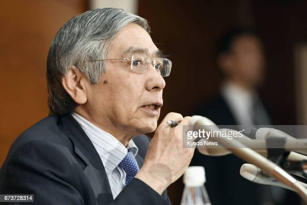 Bank of Japan Gov Haruhiko Kuroda speaks at a press conference at BOJ headquarters in Tokyo on April 27 after the end of a twoday policy board...