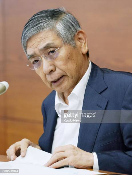 Bank of Japan Gov Haruhiko Kuroda speaks at a press conference at the BOJ's headquarters in Tokyo on Sept 21 after a twoday meeting of the central...