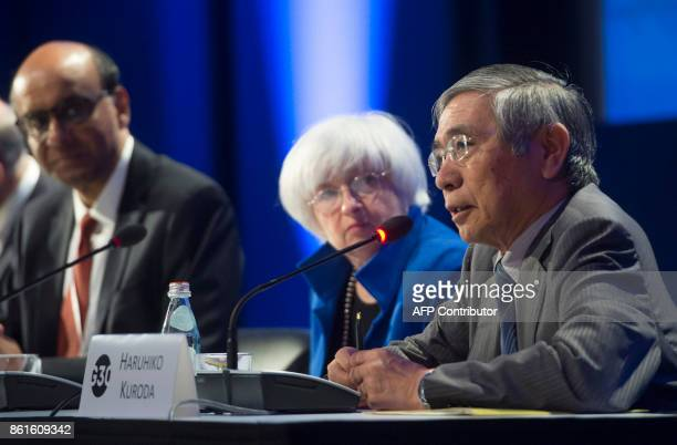 Bank of Japan Governor Haruhiko Kuroda speaks alongside Federal Reserve Chair Janet Yellen and Singapore's Deputy Prime Minister and G30 Chairman...