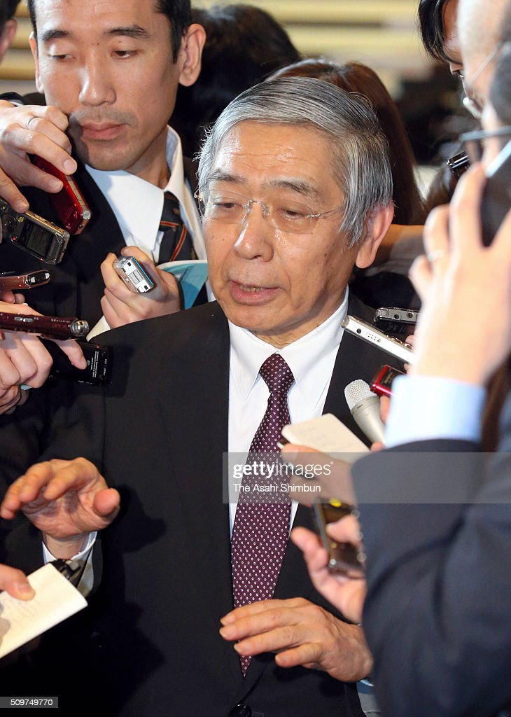 Bank of Japan governor <a gi-track='captionPersonalityLinkClicked' href=/galleries/search?phrase=Haruhiko+Kuroda&family=editorial&specificpeople=649295 ng-click='$event.stopPropagation()'>Haruhiko Kuroda</a> speaks to media reporters after his meeting with Prime Minister Shinzo Abe to exchange opinions at Abe's official residence on February 12, 2016 in Tokyo, Japan. Japan's Nikkei 225 index continues to drop, below 15,000 points, first time in 16 month amid the Japanese Yen soaring and uncertainty of the global economy.
