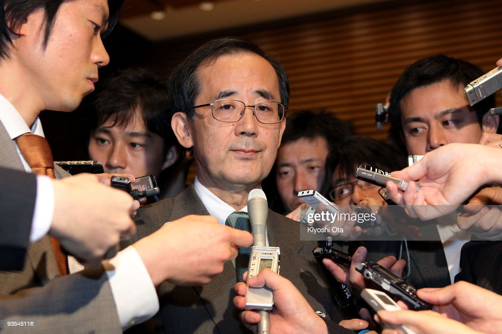 Bank of Japan (BOJ) Governor <a gi-track='captionPersonalityLinkClicked' href=/galleries/search?phrase=Masaaki+Shirakawa&family=editorial&specificpeople=5103203 ng-click='$event.stopPropagation()'>Masaaki Shirakawa</a> listens to a question from a reporter after their meeting with Japanese Prime Minister Yukio Hatoyama at Hatoyama's official residence on December 2, 2009 in Tokyo, Japan. Shirakawa and Hatoyama met on Wednesday to discuss the ways to revive the struggling economy. The meeting came the day after The Bank of Japan offered billions of dollars in new credit to markets. (