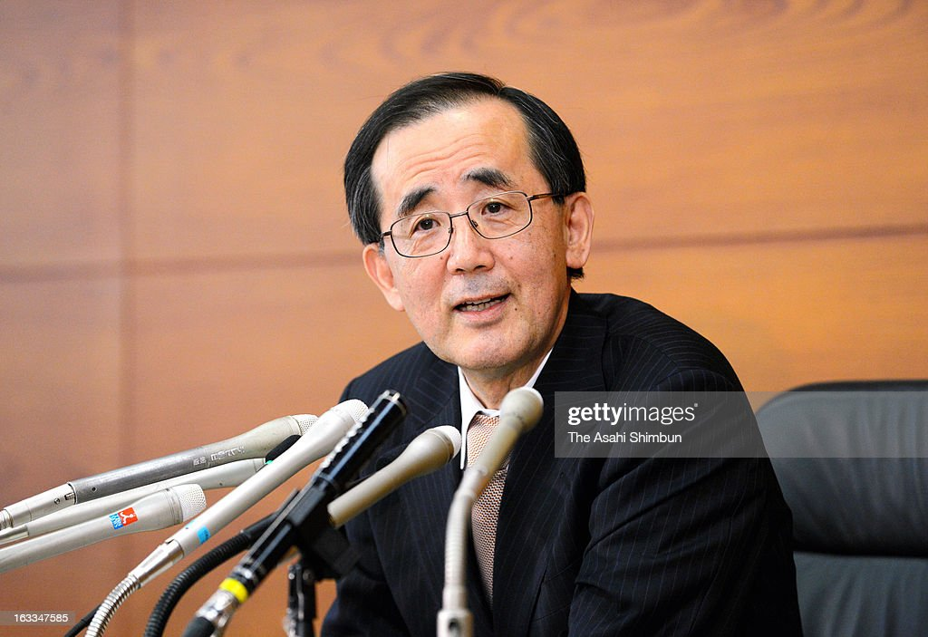 Bank of Japan (BOJ) Governor Masaaki Shirakawa speaks at a press conference after attending his last monetary policy meeting before stepping down at the BOJ headquarters on March 7, 2013 in Tokyo, Japan.