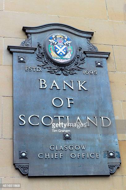 Bank of Scotland chief office sign with logo part of Lloyds Banking Group in St Vincent Street City Centre Glasgow Scotland