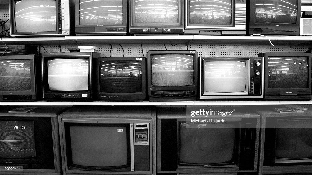 Bank of television sets : Stock Photo