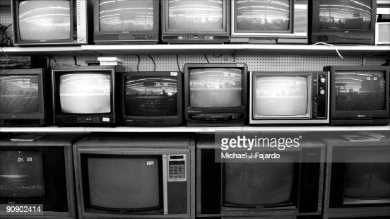 Bank of television sets : Foto de stock