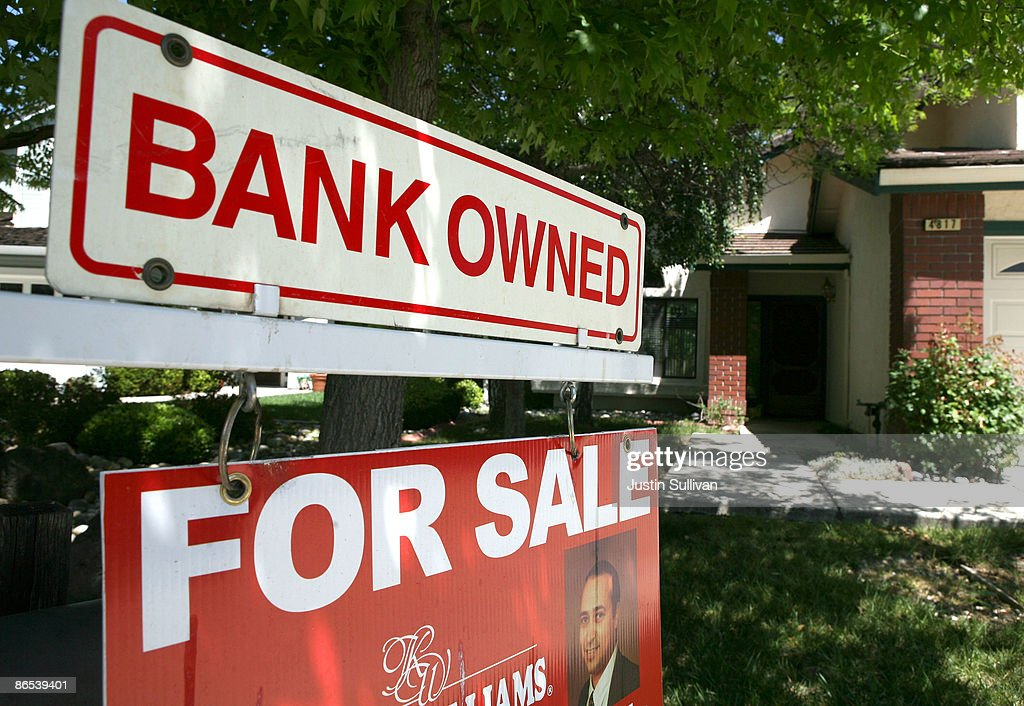 A bank owned for sale sign is posted in front of a foreclosed home May 7, 2009 in Antioch, California. A study of government data on subprime loans by the Center for Public Integrity showed that 56 percent of the $1.38 trillion in subprime mortgages originated from 15 lenders in California between 2005 and 2007.
