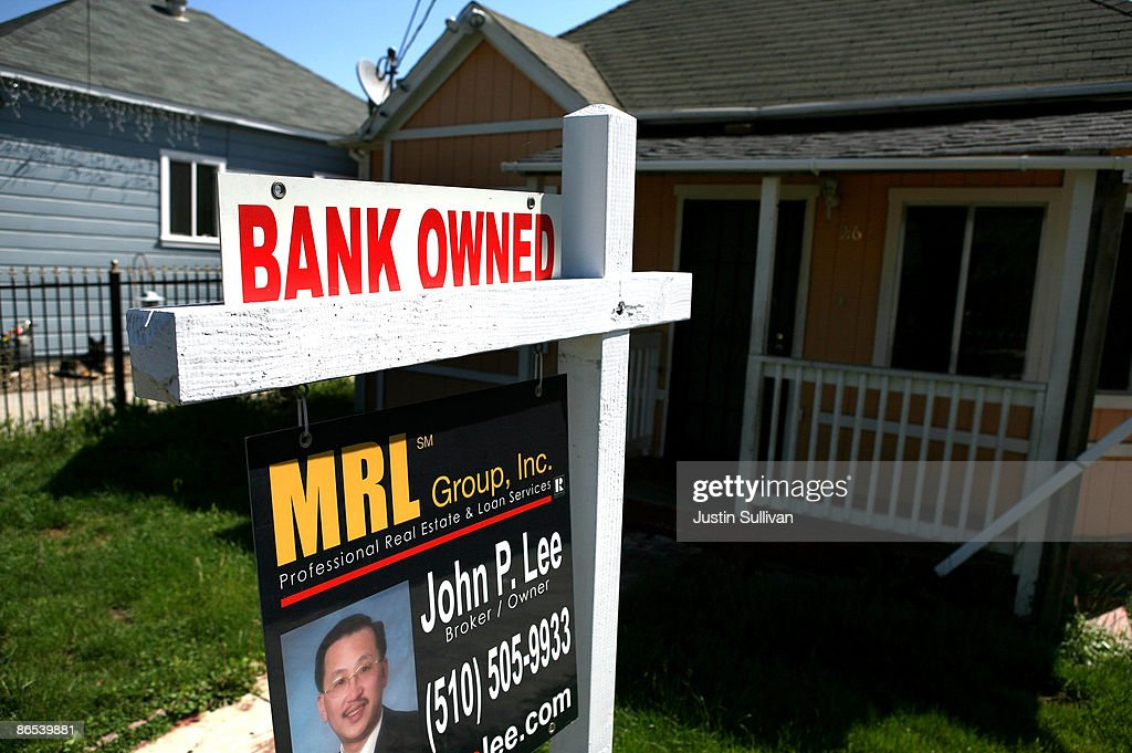 A bank owned for sale sign is posted in front of a foreclosed home May 7, 2009 in Richmond, California. A study of government data on subprime loans by the Center for Public Integrity showed that 56 percent of the $1.38 trillion in subprime mortgages originated from 15 lenders in California between 2005 and 2007.