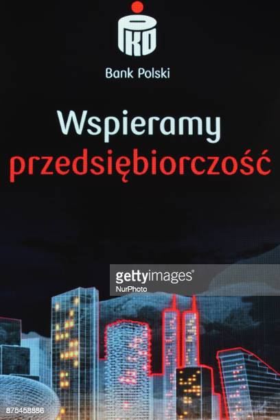 Bank Polski Logo with ' We support entrepreneurship' description seen at Congress 590 in the new Exhibition and Congress Centre in RzeszowJasionka...