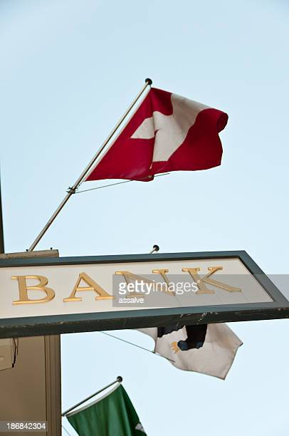 bank sign and swiss flag