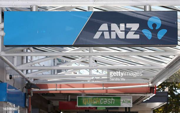 ANZ bank signage is seen after a press conference announcing the class suit to reclaim bank fees on March 11 2013 in Auckland New Zealand Three major...