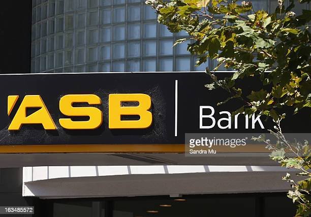 ASB bank signage is shown after a press conference announcing the class suit to reclaim bank fees on March 11 2013 in Auckland New Zealand Three...
