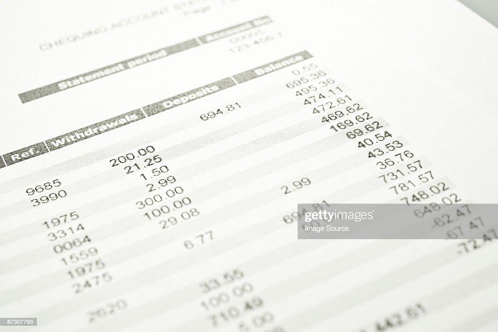 Bank statement : Stock Photo