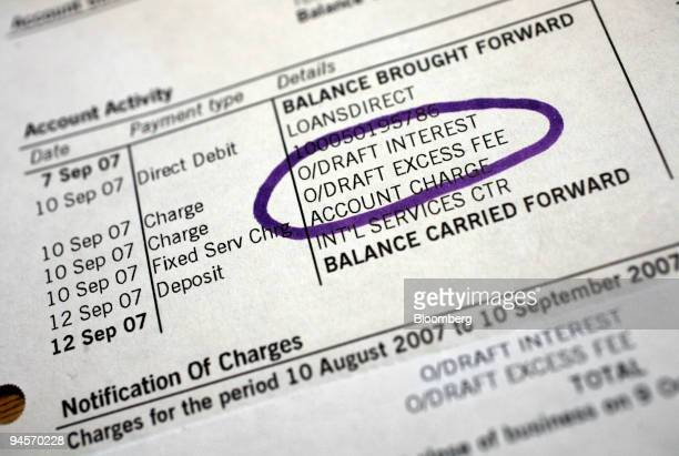 A bank statement showing an overdraft excess fee arranged for a photograph in Littlebury UK on Thursday Jan 10 2008 Next week the UK Office of Fair...