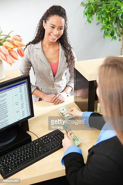Bank Teller and Customer Banking Transaction in Retail Bank Counter