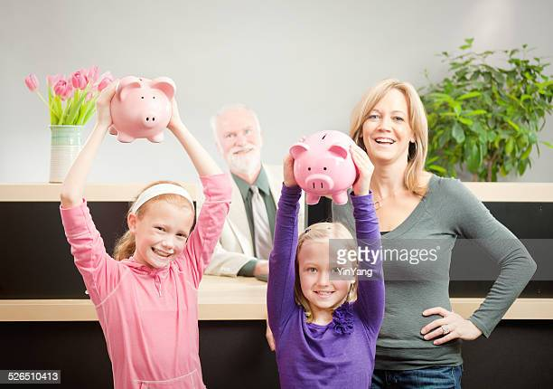 Bank Teller Assisting Piggy Bank Saving Finances from Child Customers