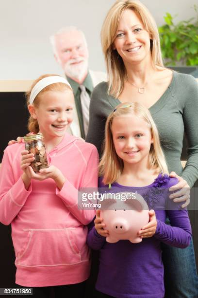 Bank Teller Serving Family Children Customers with Saving at Retail Bank Counter