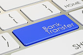 bank transfer concept on blue keyboard button, 3D rendering, 3D rendering