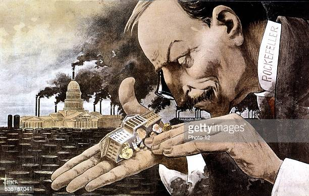 Banker Rockefeller Satirical cartoon when the verdict of the antitrust trial was announced 'The point of view of the trusts giant what a funny little...