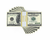 3d render $100 Banknote (isolated on white and clipping path)