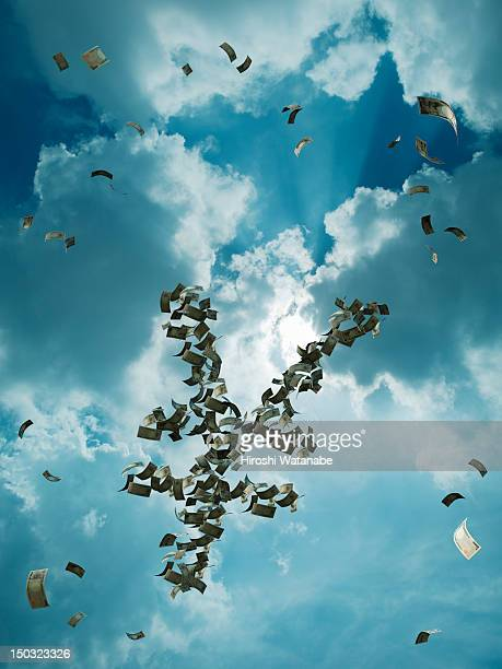 Banknotes are flying in the sky