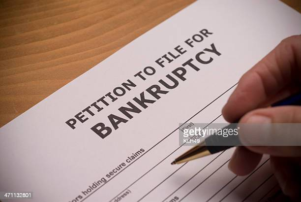 Bankruptcy Petition with hand and pen
