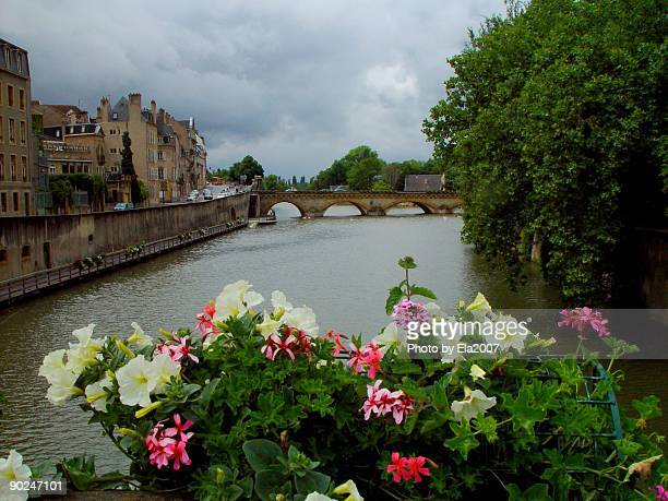 Banks of the Moselle River and old town, Metz