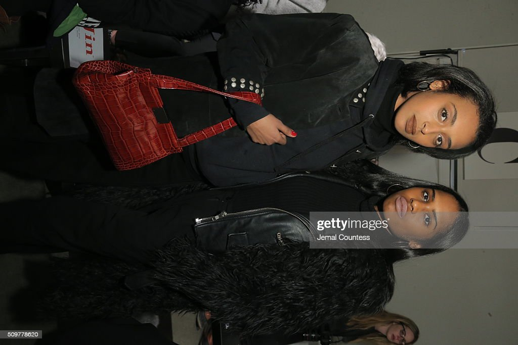 Banna Gebremichael (L) and Shelby Macklin attend the iiJin Fall 2016 fashion show during New York Fashion Week at Pier 59 on February 12, 2016 in New York City.
