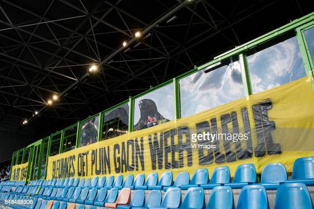 banner 1 maart 1945 bleumkes oet puin gaon weer bleuje during the Dutch Eredivisie match between Vitesse Arnhem and VVV Venlo at Gelredome on...