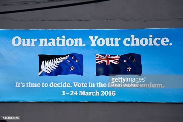 A banner advertises the March flag referendum in Wellington on February 16 2016 In March this year New Zealanders will decide whether to replace the...