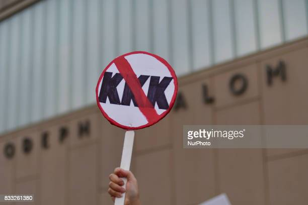 A banner anti KKK is seen during march Against Hate Held In Philadelphia In Wake Of Charlottesville on August 16 2017 Demonstrations are being held...