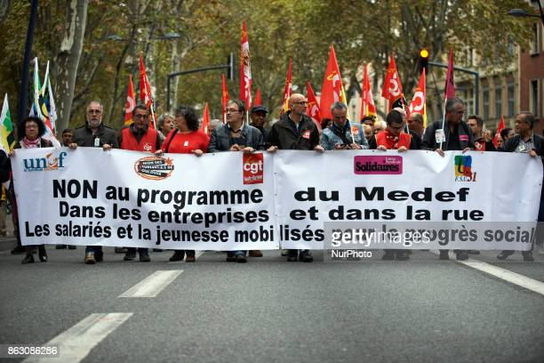 Banner at the beginning of the protest reading 'no to the MEDEF's program' during a protest against Macron's policies Nearly 3000 protesters took to...