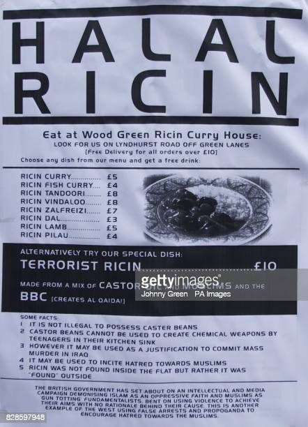 A banner belonging to protestors demonstrating against the Metropolitan Police's raid on Finsbury Park Mosque in north London Antiterrorist...